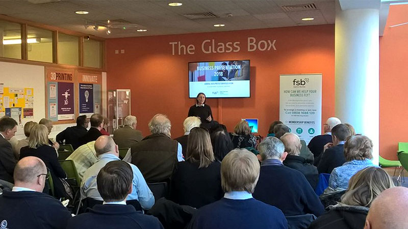 Business presentation at Glass Box